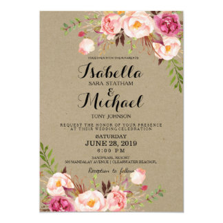 Rustic Floral Wedding Invitation/kraftpaperprintbg Card