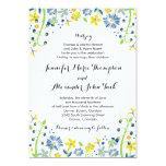 Rustic Floral Wedding Invitation Navy Yellow 13 Cm X 18 Cm Invitation Card