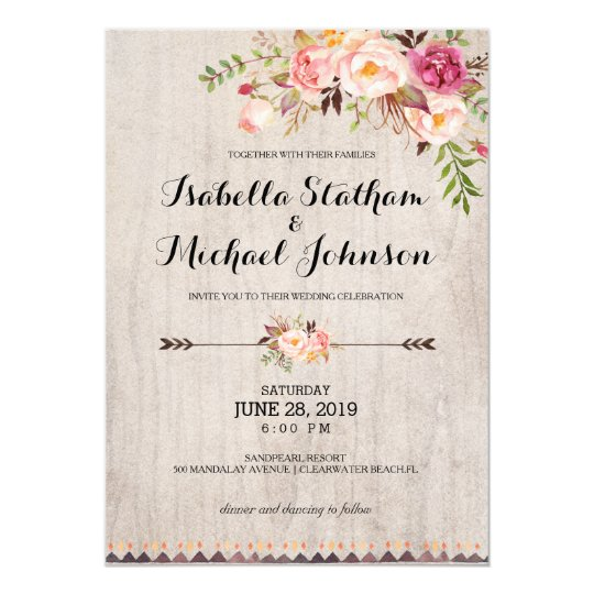 Best Paper Weight For Wedding Invitations: Rustic Floral Wedding Invitation/Watercolor Bg-2 Card