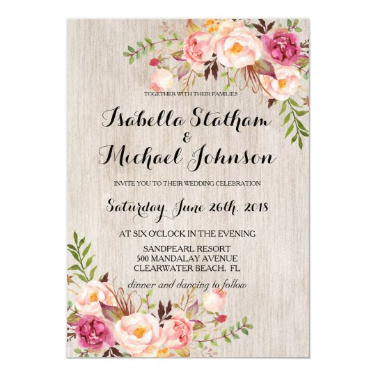 Rustic Mason Jar Floral Wedding Invitations Burgundy: Rustic Floral Wedding Invitation/Watercolor Bg-2