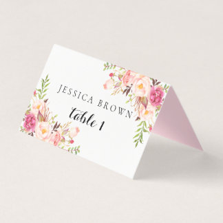Rustic Floral Wedding Place Card, Table Number 01 Place Card