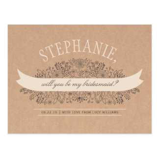 Rustic Floral Will You Be My Bridesmaid Photo Postcard