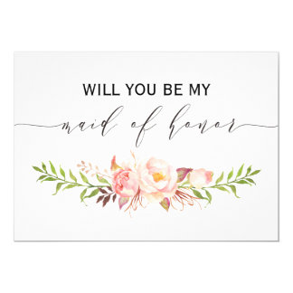 Rustic Floral Will you be my maid of honor 2sided1 Card
