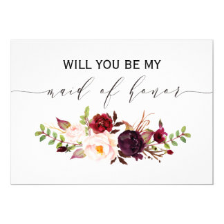 Rustic Floral Will you be my maid of honor 2sided Card