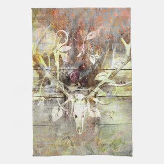 Rustic Floral Wood Grain Stag Skull Antlers Tea Towel