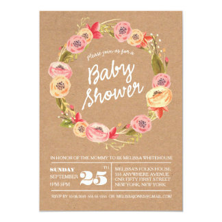 Rustic Floral Wreath BABY Shower Invite