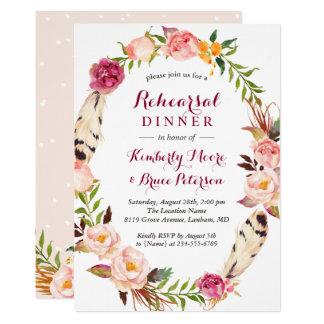 Rustic Floral Wreath Boho Wedding Rehearsal Dinner Card