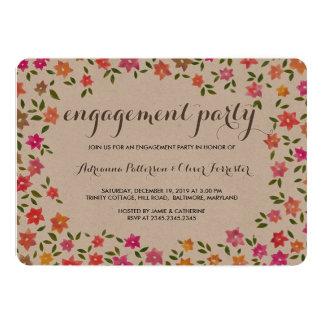 Rustic Floral Wreath Engagement Party 13 Cm X 18 Cm Invitation Card