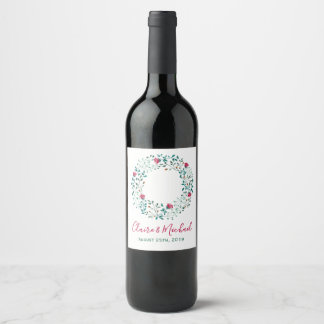 Rustic Floral Wreath | Personalized Wedding Wine Label