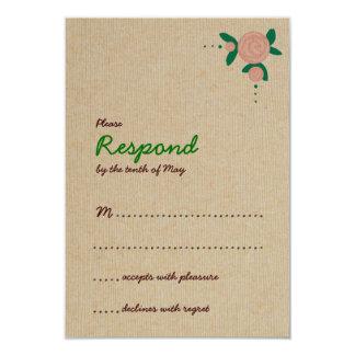 "Rustic Floral Wreath Response 3.5"" X 5"" Invitation Card"