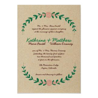 "Rustic Floral Wreath Wedding Invitation 5"" X 7"" Invitation Card"