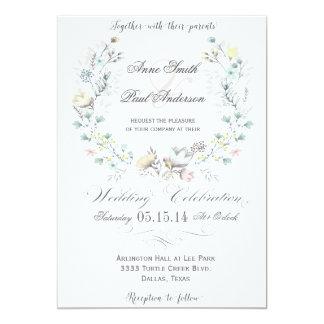 Rustic Floral wreath wedding invitation III