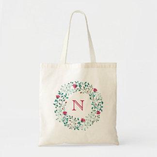 Rustic Floral Wreath   Wedding Monogram Tote Bag
