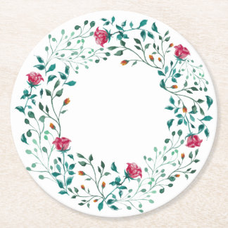 Rustic Floral Wreath | Wedding Round Paper Coaster