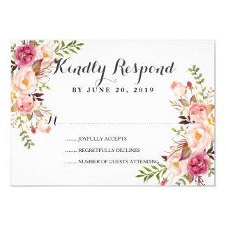 Rustic Floral Wreath Wedding RSVP Card