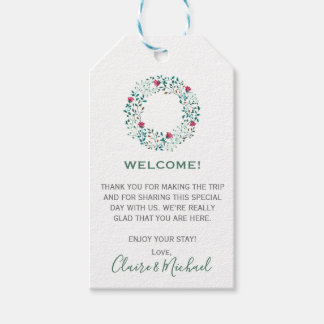 Rustic Floral Wreath | Welcome Wedding Gift Tags