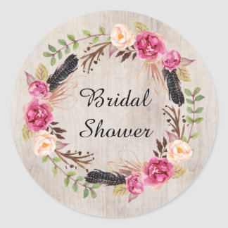 Rustic Flower and Flowers Save the Date Round Sticker