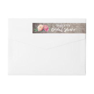 Rustic Flower Bouquet Bridal Shower Wraparound Return Address Label