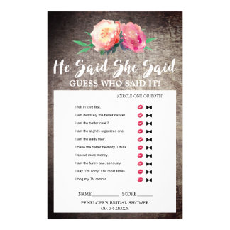 "Rustic Flower Bouquet ""He Said She Said"" Quiz Game Flyer"