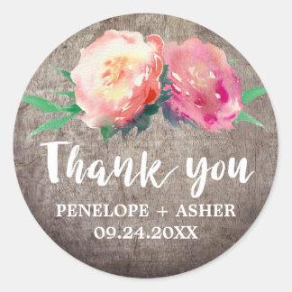 "Rustic Flower Bouquet ""Thank You"" Wedding Favor Classic Round Sticker"