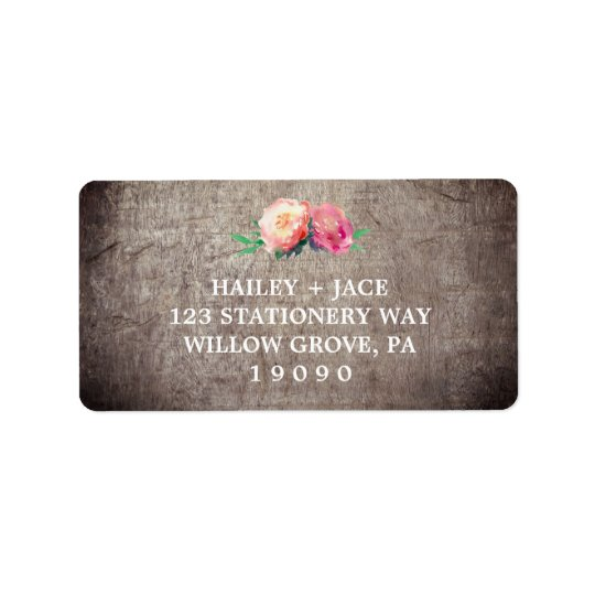 Rustic Flower Bouquet Wedding Address Label