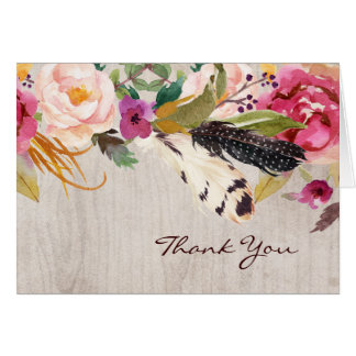 Rustic Flowers and Feathers Thank You Card