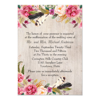 Rustic Flowers and Feathers Vow Renewal 13 Cm X 18 Cm Invitation Card