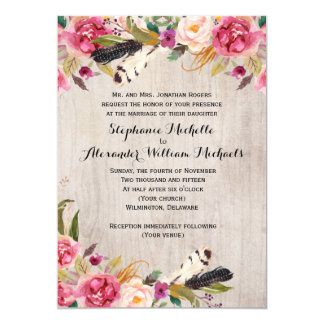 Rustic Flowers and Feathers Wedding 13 Cm X 18 Cm Invitation Card