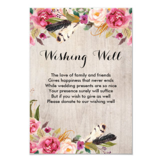 Rustic Flowers and Feathers Wishing Well Card