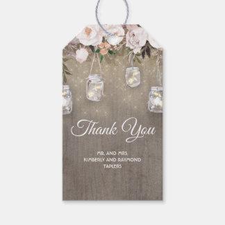 Rustic Flowers and Mason Jar Lights Wedding Gift Tags
