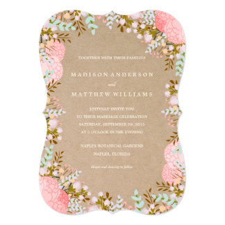 Rustic Flowers Border | Wedding Invitation