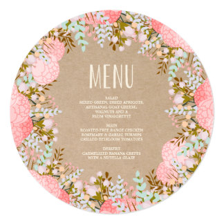 Rustic Flowers | Dinner Menu Card