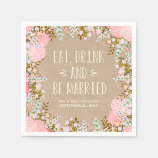 Rustic Flowers | Personalized Paper Napkins