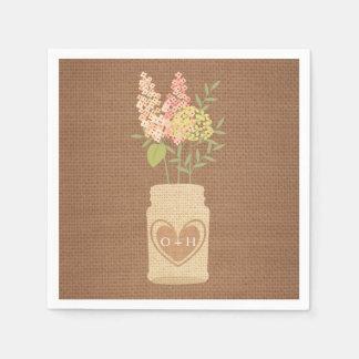 Rustic Flowers Wedding Paper Napkin