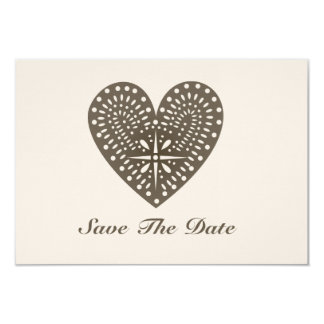Rustic Folk Art Inspired Heart Save The Date 9 Cm X 13 Cm Invitation Card