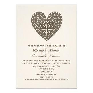 Rustic Folk Art Inspired Heart Wedding Invitation