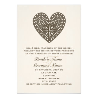"Rustic Folk Art Inspired Heart Wedding Invitation 4.5"" X 6.25"" Invitation Card"