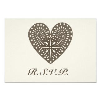 Rustic Folk Art Inspired Heart Wedding RSVP 9 Cm X 13 Cm Invitation Card