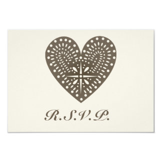 Rustic Folk Art Inspired Heart Wedding RSVP Card