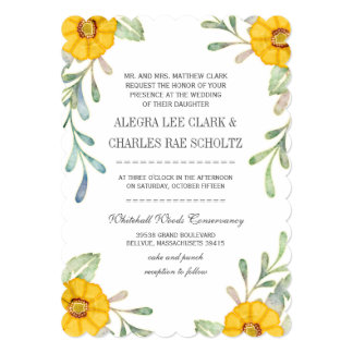 Rustic Folk Art Watercolor Wedding Card