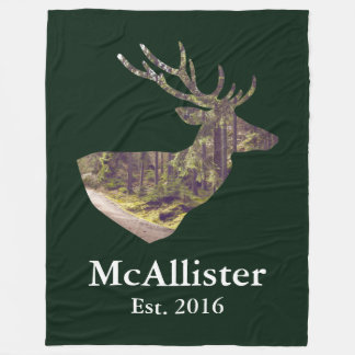 Rustic Forest Buck Family Name Fleece Blanket