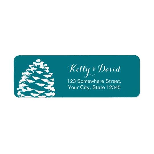 Rustic Forest Pine Cones Wedding Return Address Label