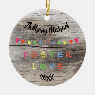 Rustic Foster Love -Banners Custom Name-Date Ceramic Ornament