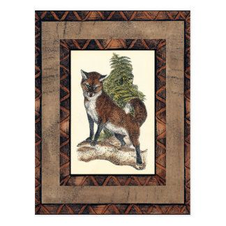 Rustic Fox Stepping on a Tree Trunk Postcard