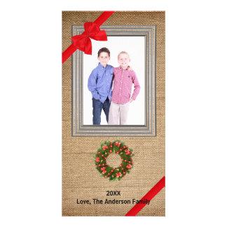 Rustic Framed Burlap Wreath - Photo Card