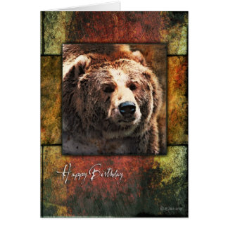 Rustic Framed Grizzly Birthday Card