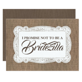 Rustic Fun Bridesmaid / Maid of Honor BRIDEZILLA Card