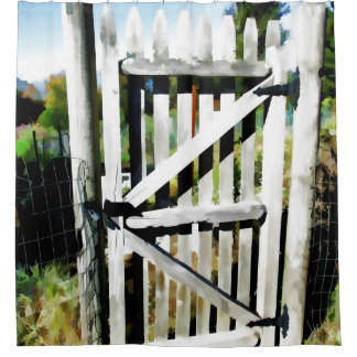 Rustic Garden Gate Shower Curtain