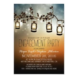 rustic garden lights - lanterns engagement party 13 cm x 18 cm invitation card