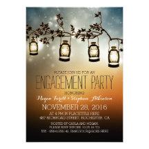 rustic garden lights - lanterns engagement party card